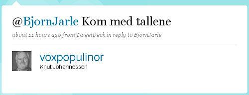 Knut Johannessen (voxpopulinor) på Twitter