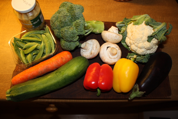 Grønnsaker til wok